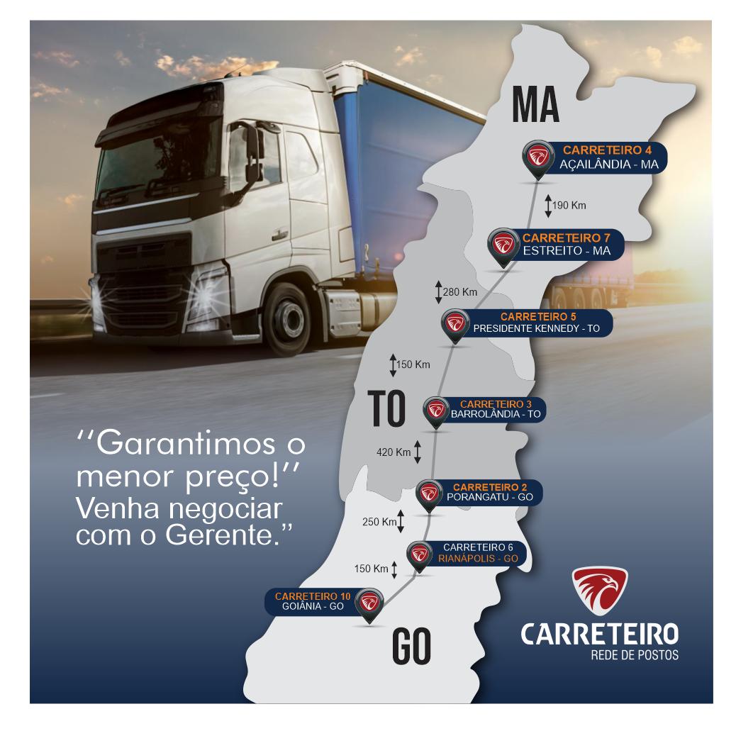 São mais de 2000 Km de apoio em postos de serviços, conveniência e hotéis na BR-153 e BR-010, nos estados de Goiás, Tocantins e Maranhão.